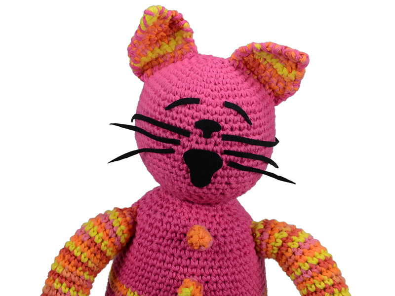 Handmade crocheted cat.