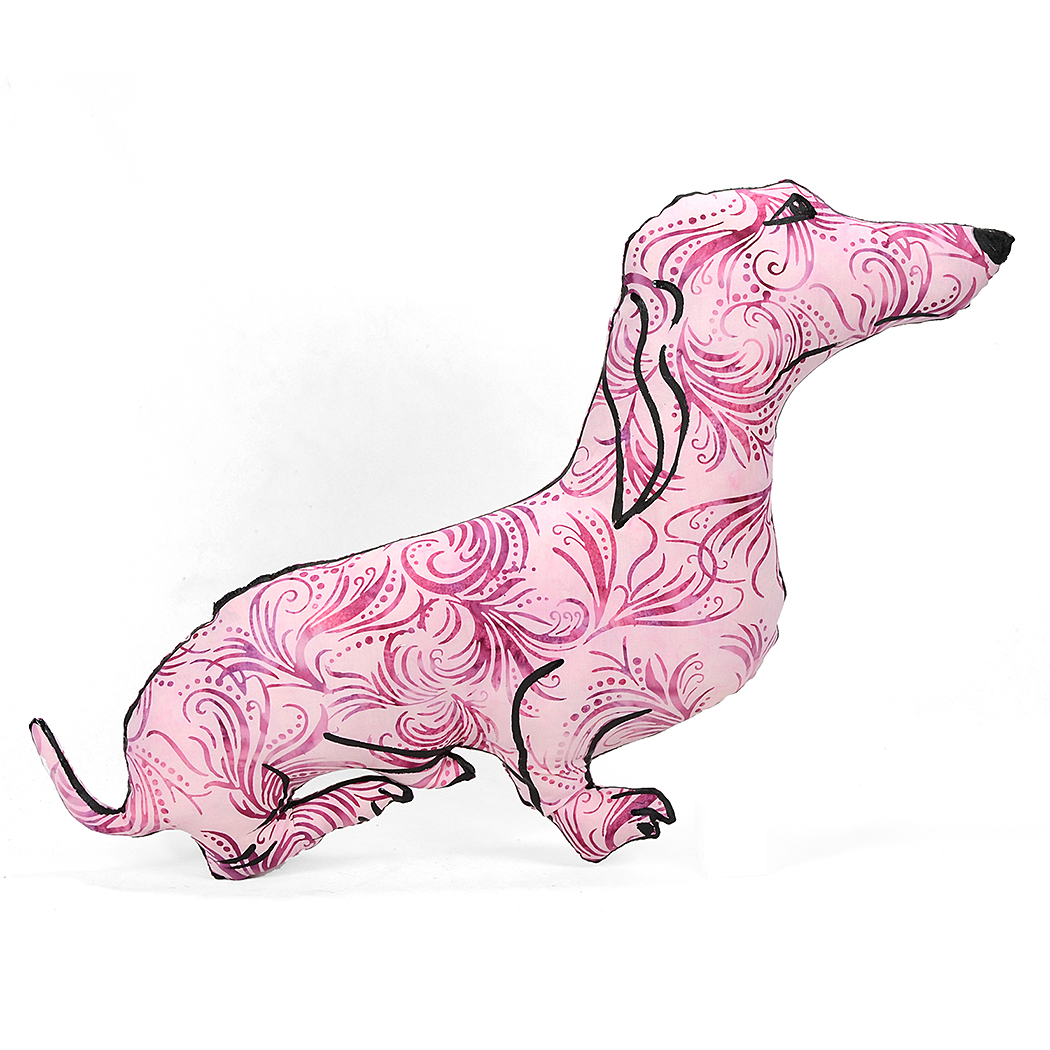 Hand drawn dachshund shaped pillow.