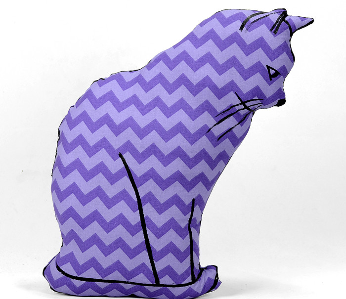 Hand drawn cat sitting shaped pillow.