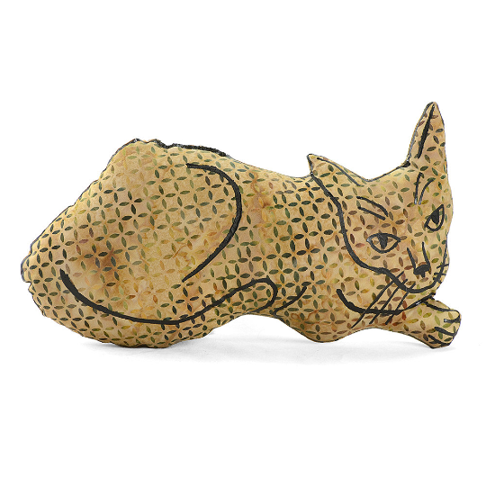 Hand drawn laying cat shaped pillow.