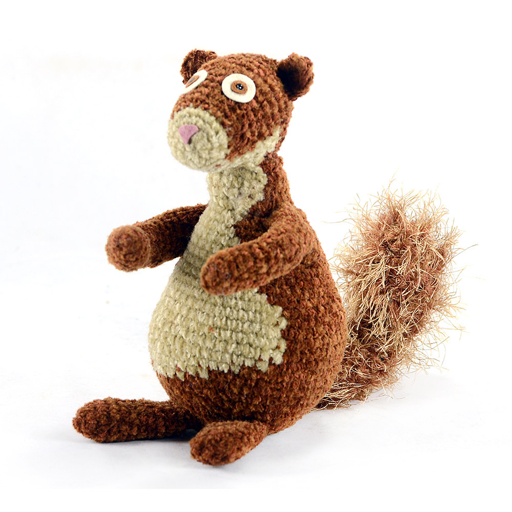 Handmade crocheted squirrel.