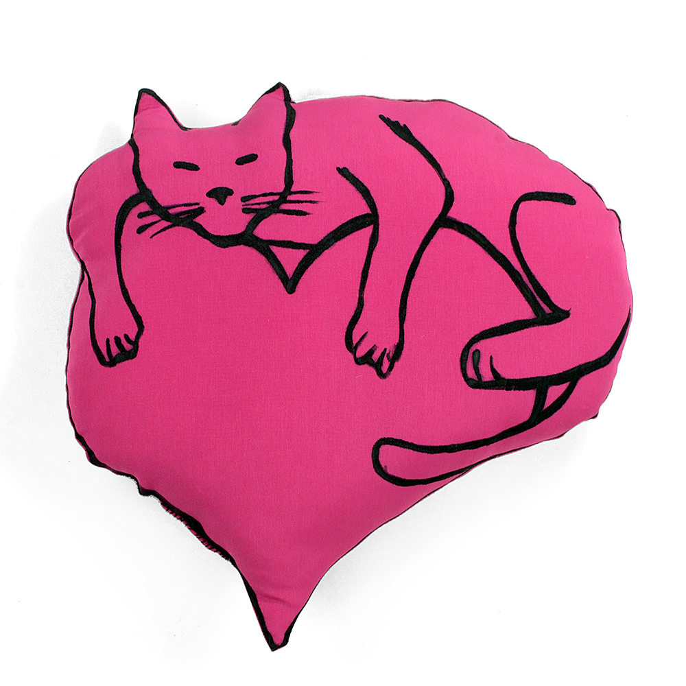 mauve heart with cat pillow front